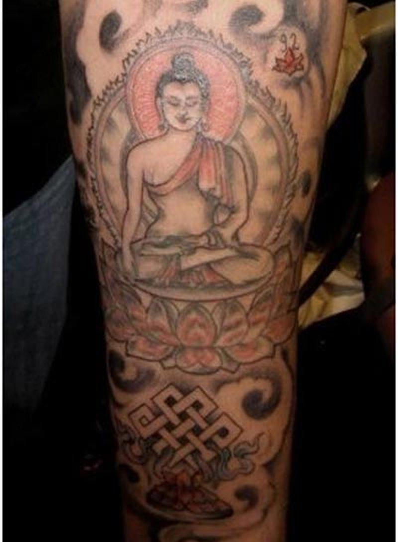 Wonderful tattoo of religious buddha
