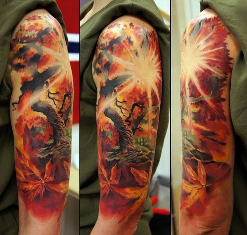 1afaf4584 Wonderful tree and sunrise tattoo on half sleeve by Andrey Barkov ...