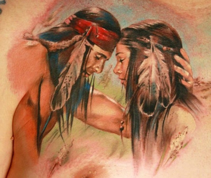 Wonderful warercolor portrait of a loving of native americans tattoo