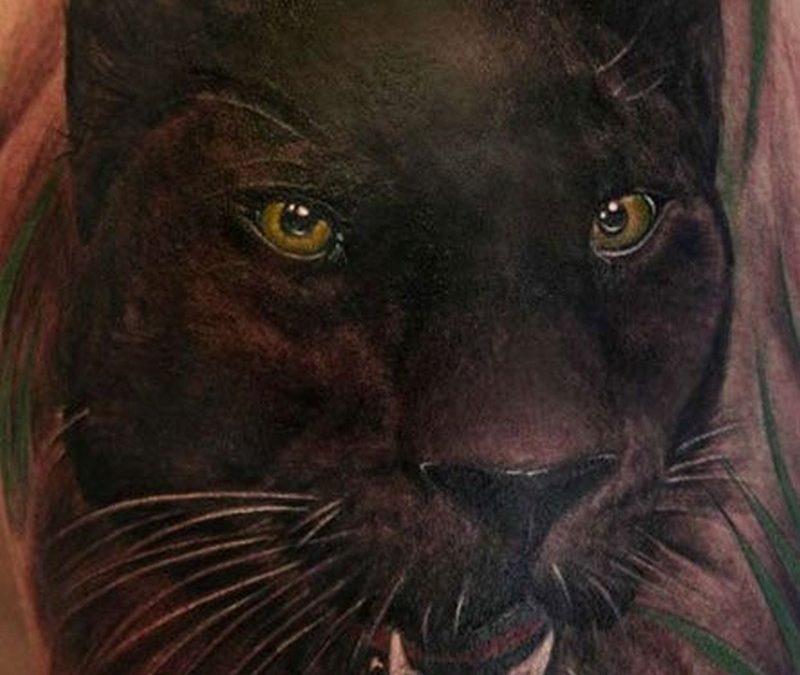 Wonderful watercolor black panther tattoo