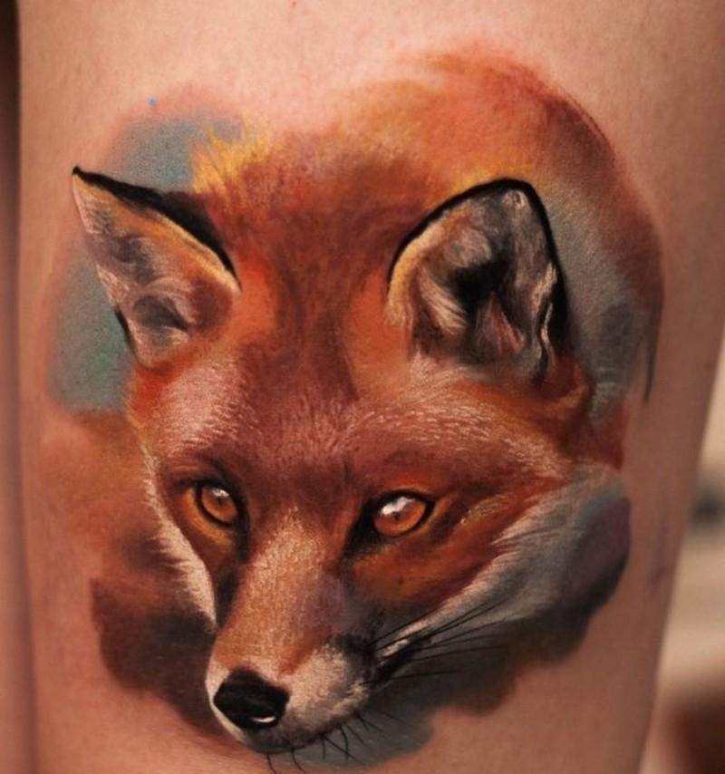 Wonderful watercolor fox tattoo