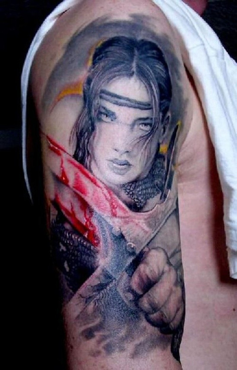 b68f3d8c0 Wonderful young woman warrior with bloody sword tattoo - Tattoos ...