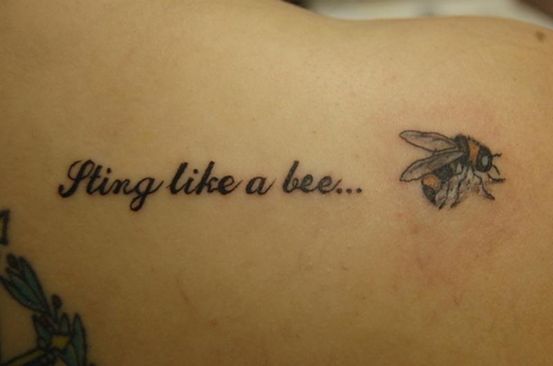 Wording bee tattoo design