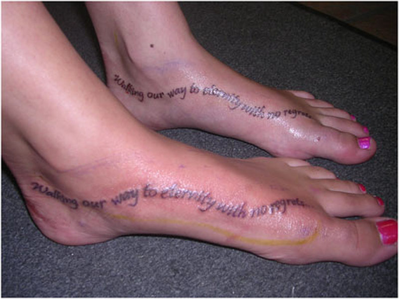 Wording feet tattoo design