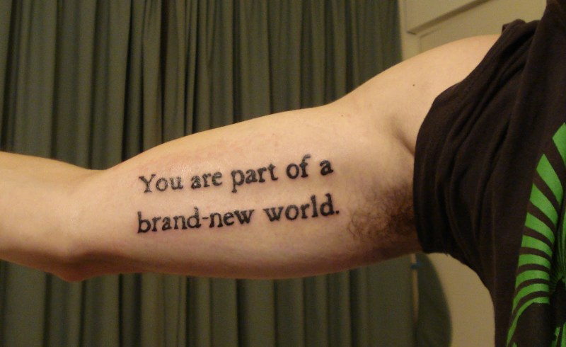 Wording tattoo for your biceps