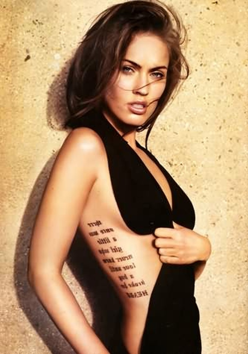Words tattoo on celebrity rib