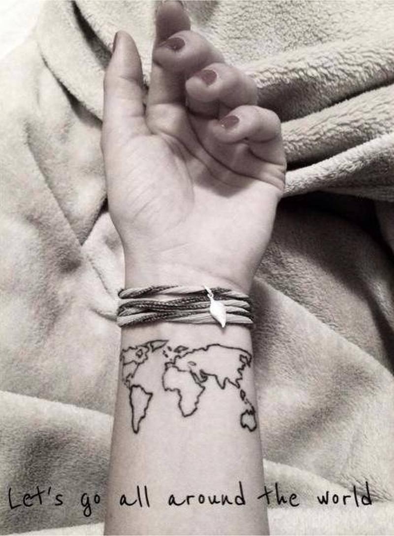 World map tattoo on wrist - Tattoos Book - 65.000 Tattoos Designs