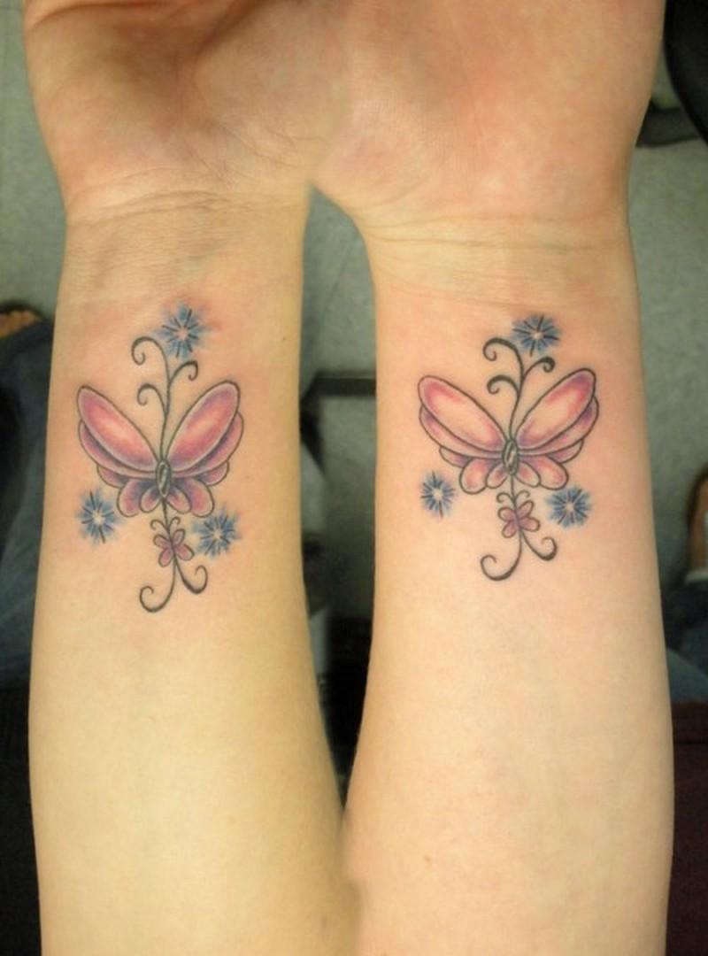 Wrist butterflies tattoo design
