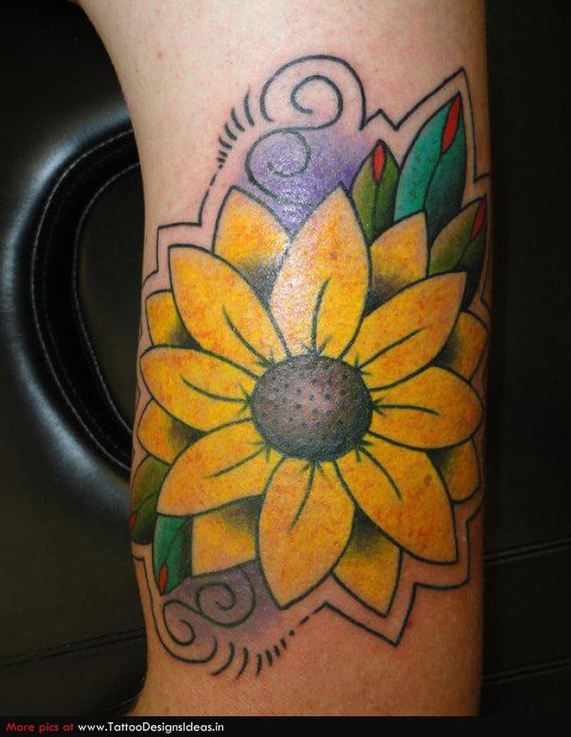 Yellow daisy flower tattoo design