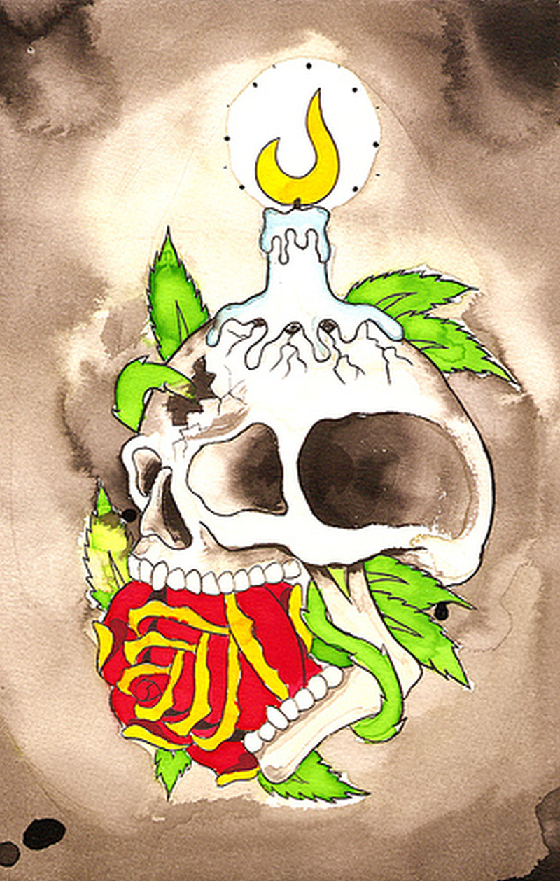 Yellow flame candle on skull tattoo design
