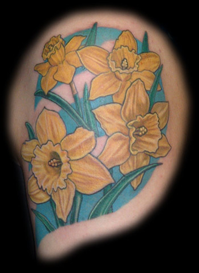 Yellow flower tattoo design
