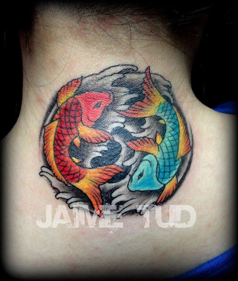 yin yang koi fish tattoo on neck back tattoos book. Black Bedroom Furniture Sets. Home Design Ideas
