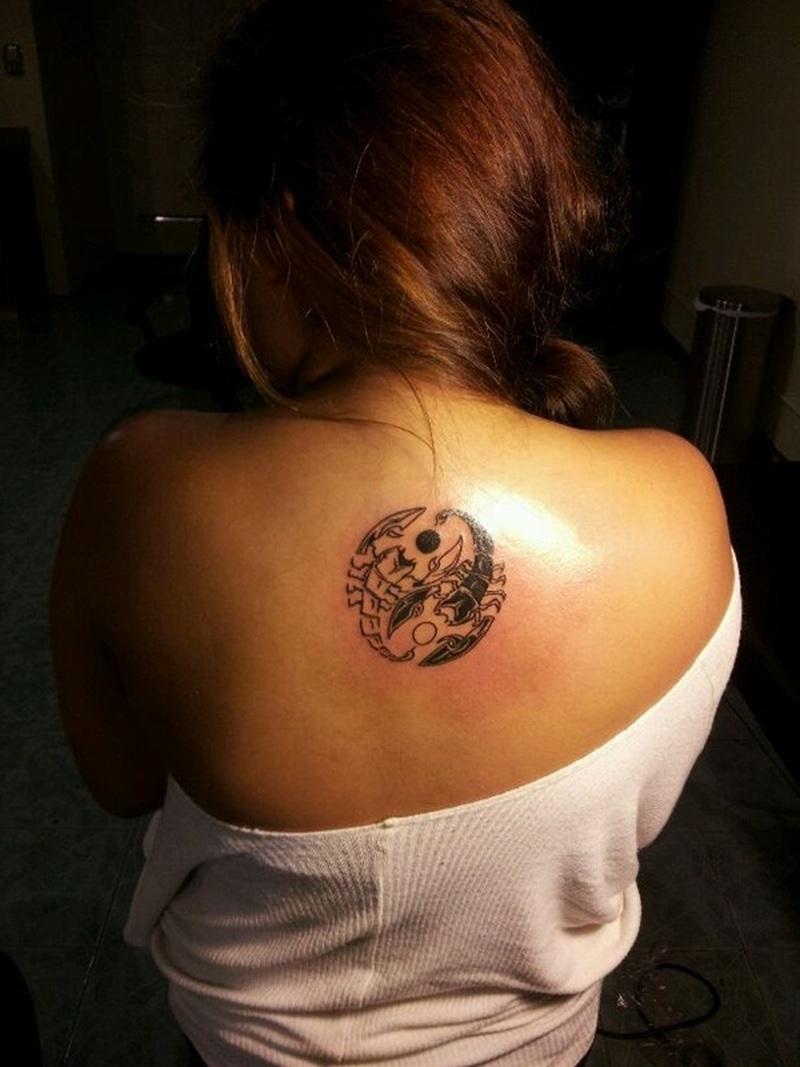 Yin yang tattoo with scorpions