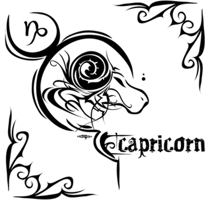 Zodiac capricorn sign tattoo design 2