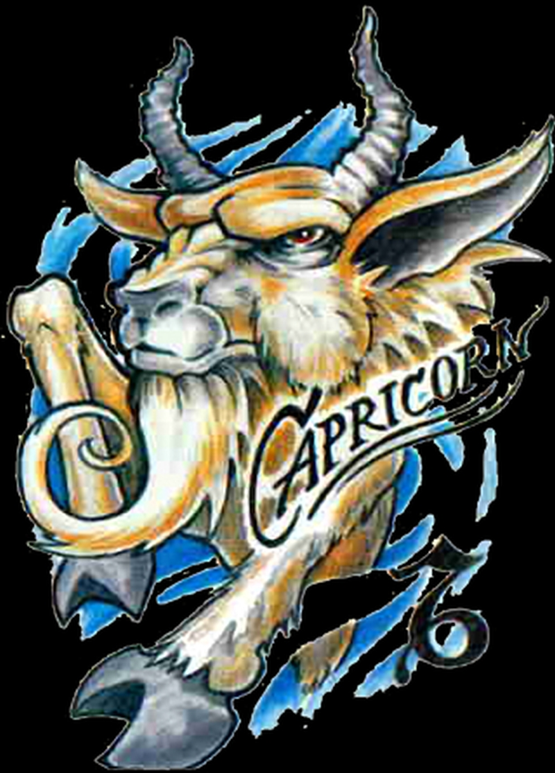 Zodiac capricorn sign tattoo design