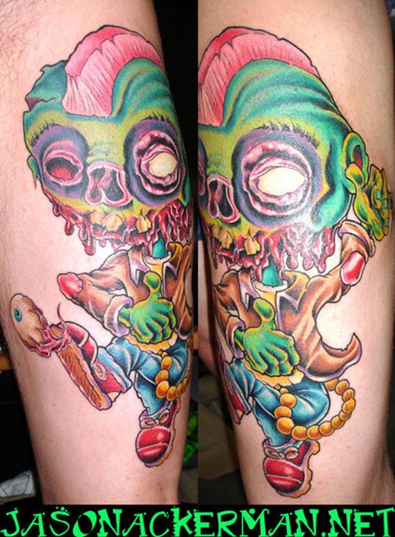 Zombie cartoon tattoo image