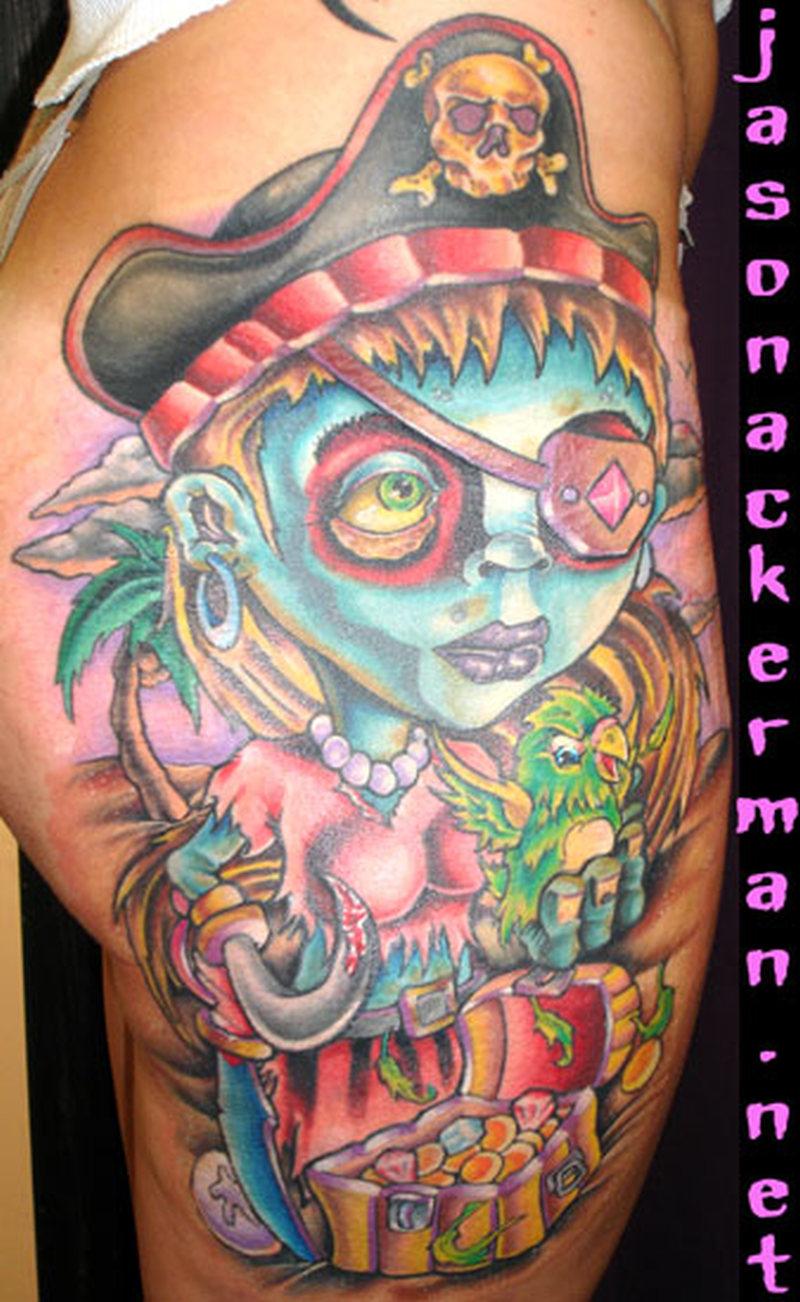 Zombie cartoon tattoo