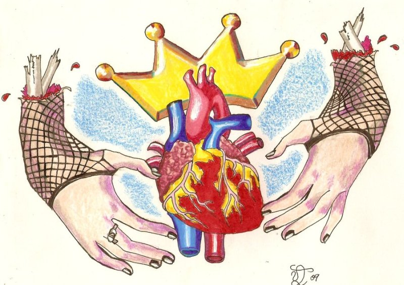 Zombie claddagh ring tattoo design 2