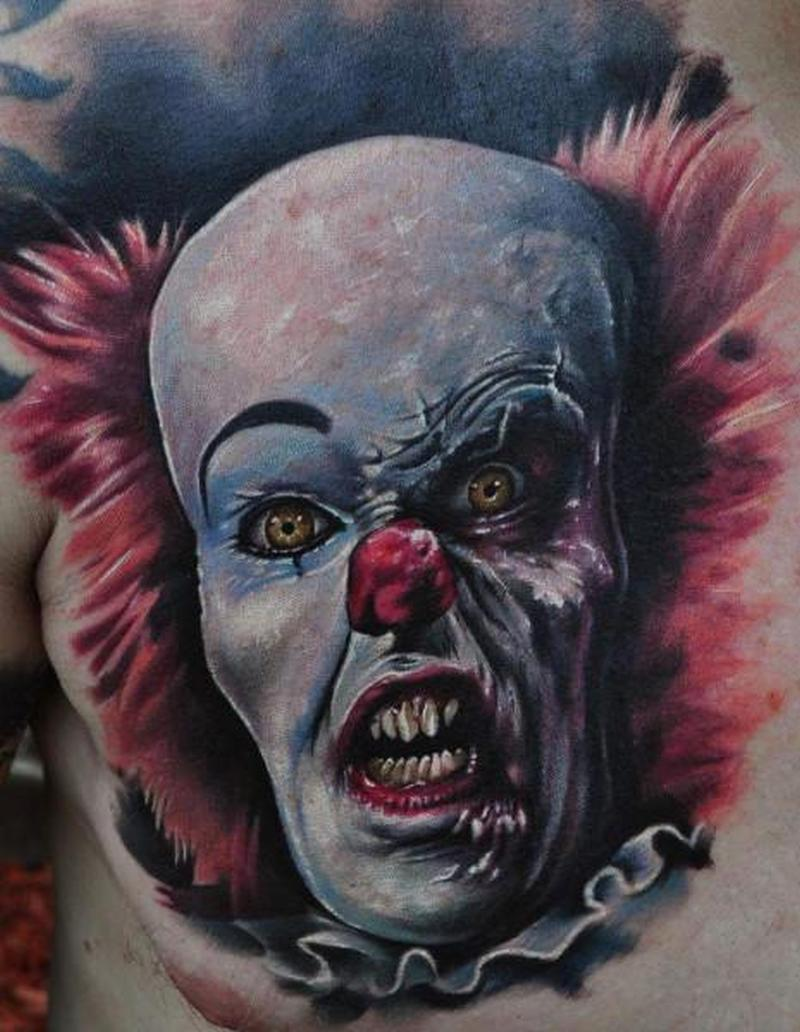 Zombie clown tattoo on chest
