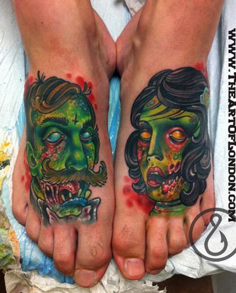 Zombie couple tattoo on feet