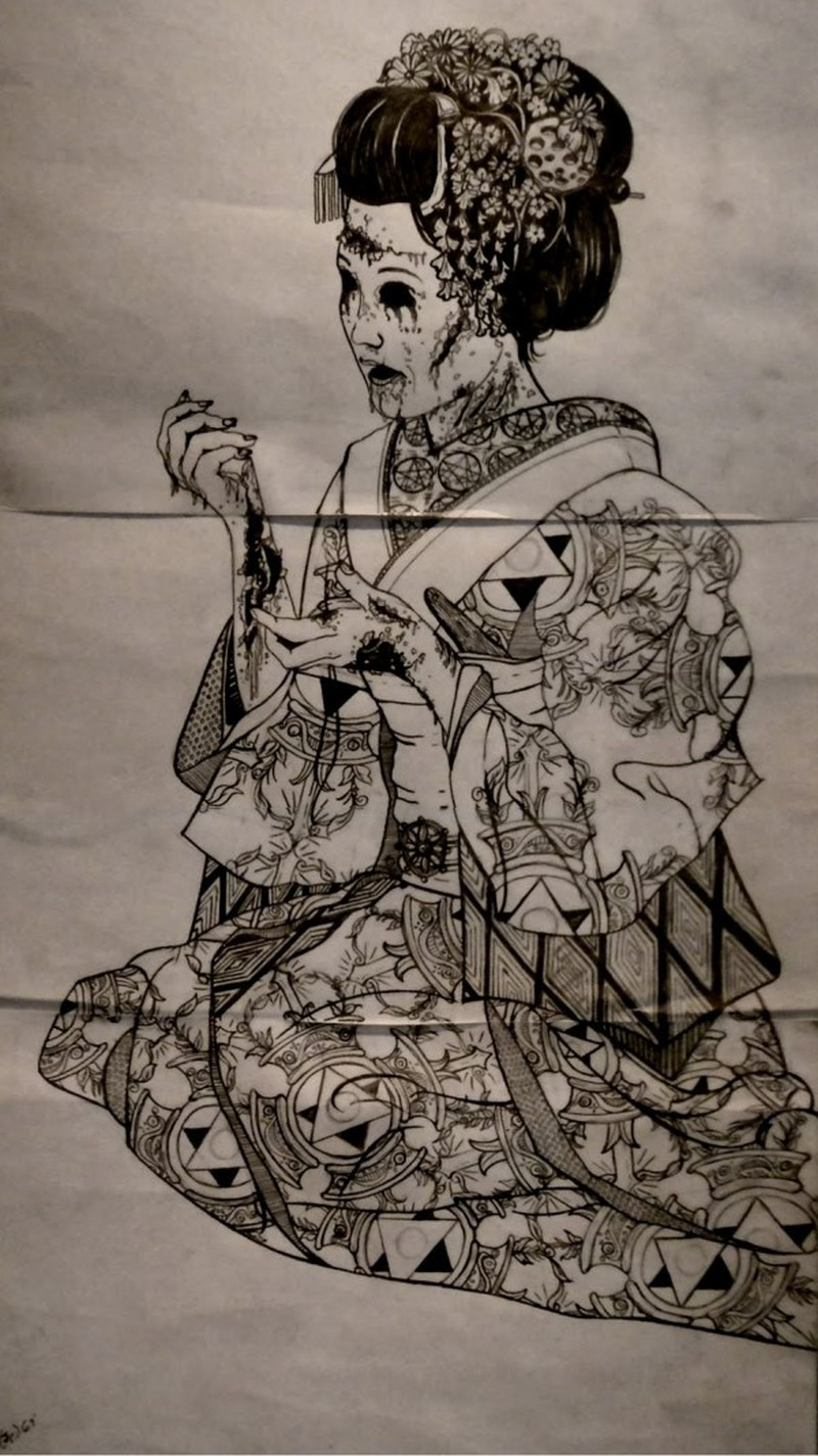 Zombie geisha tattoo design 5