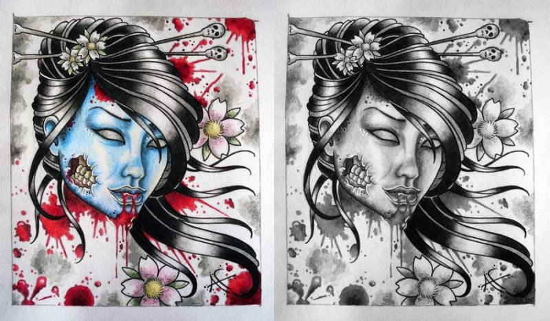 Zombie geisha tattoo designs