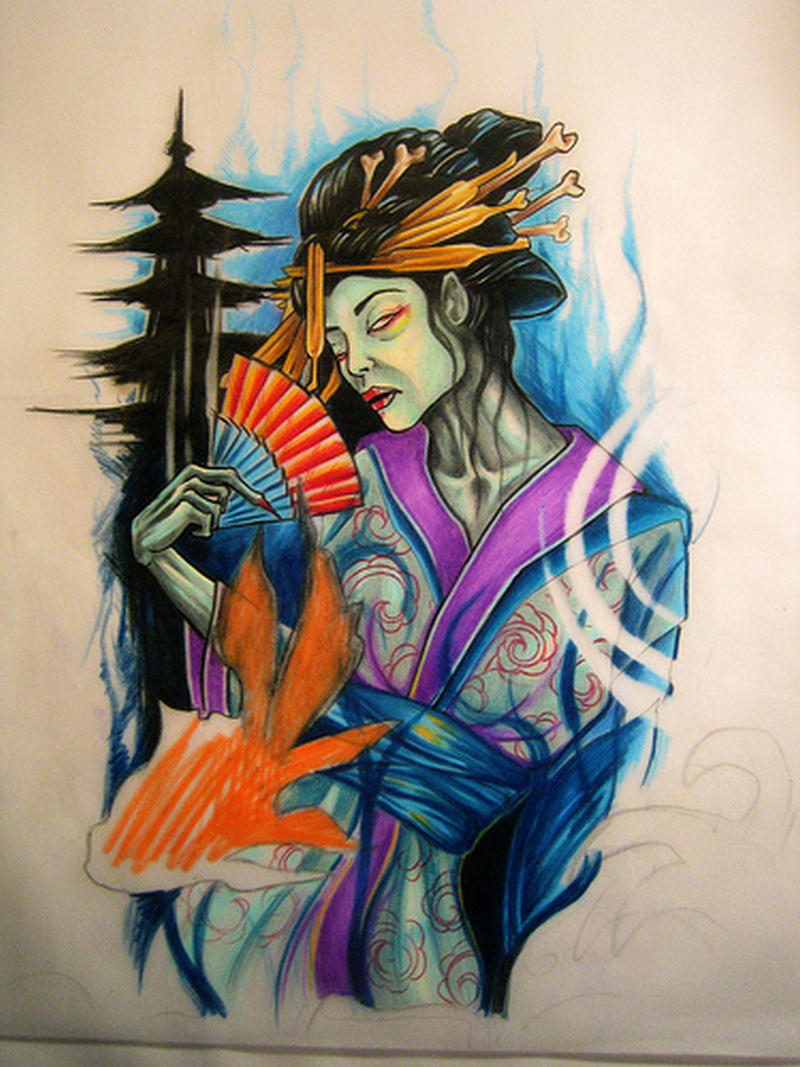 Zombie geisha tattoo photo