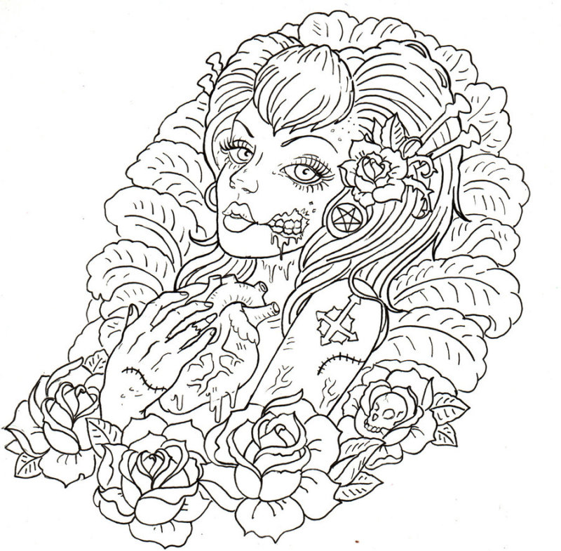 Zombie girl tattoo sample