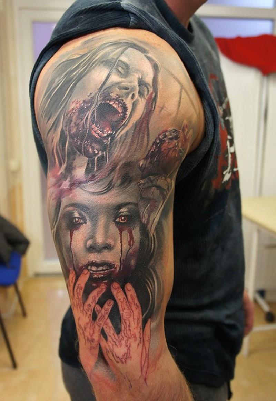 Zombie girls tattoo by grimmy