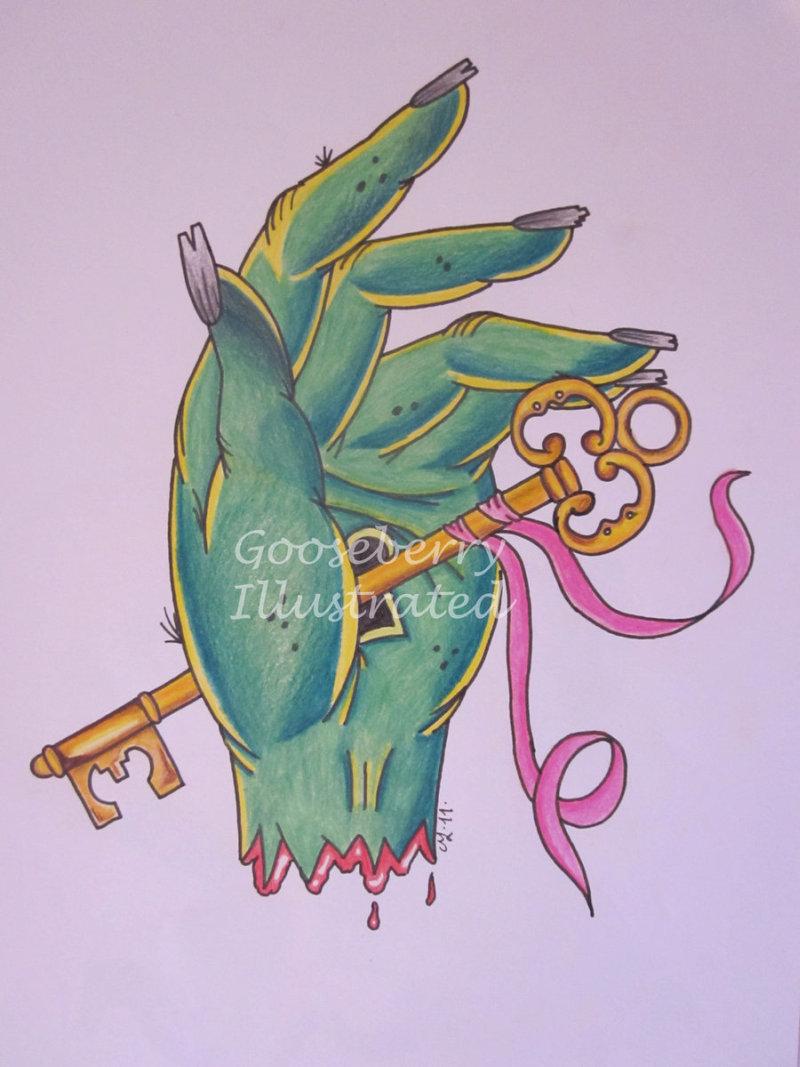 Zombie hand key tattoo design