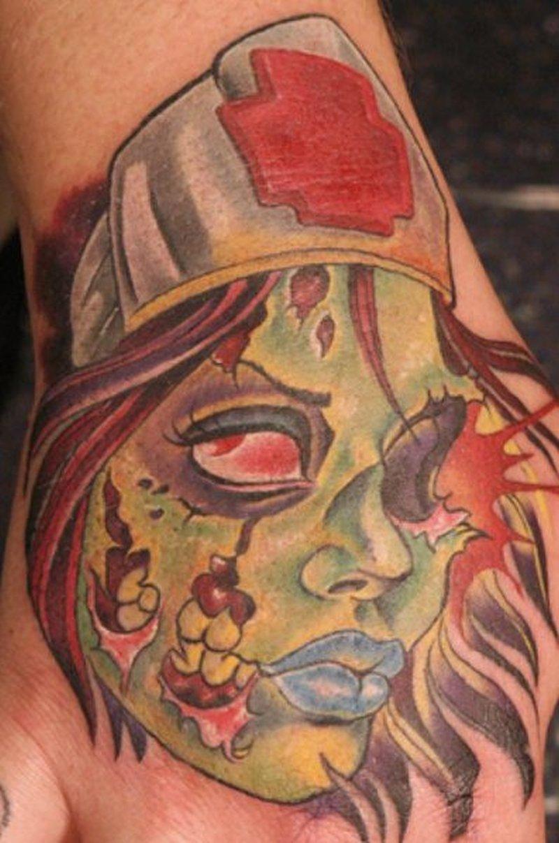 Zombie horror hand tattoo