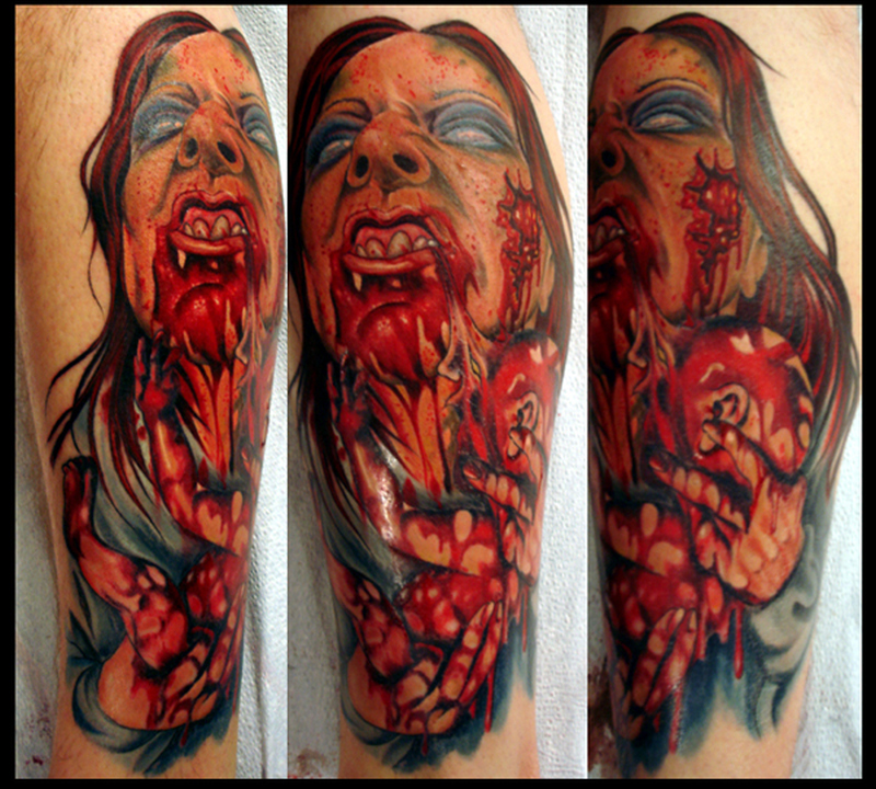 Zombie horror tattoo design