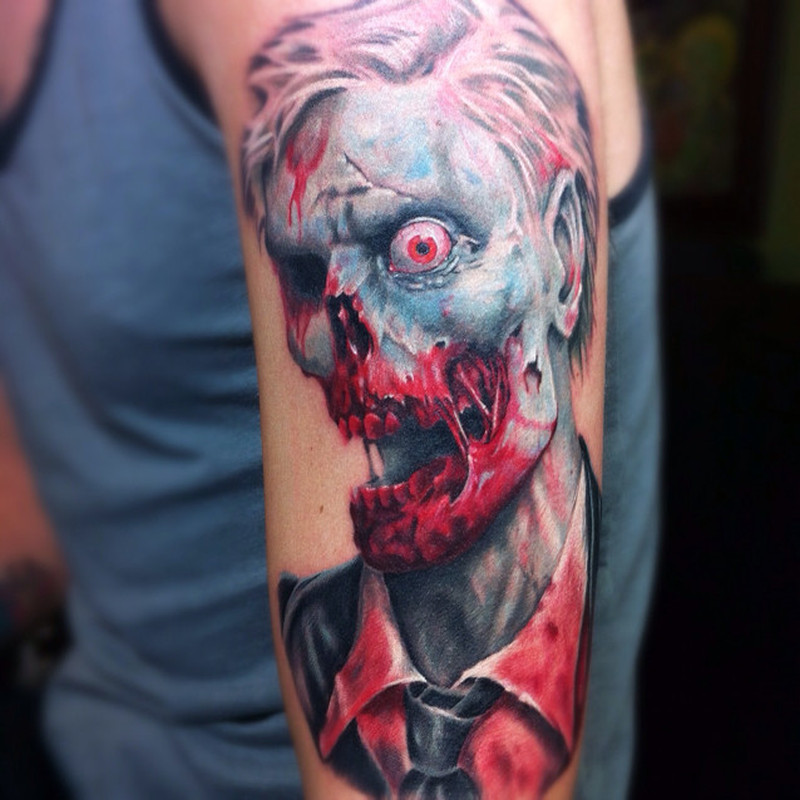 Zombie horror tattoo on arm