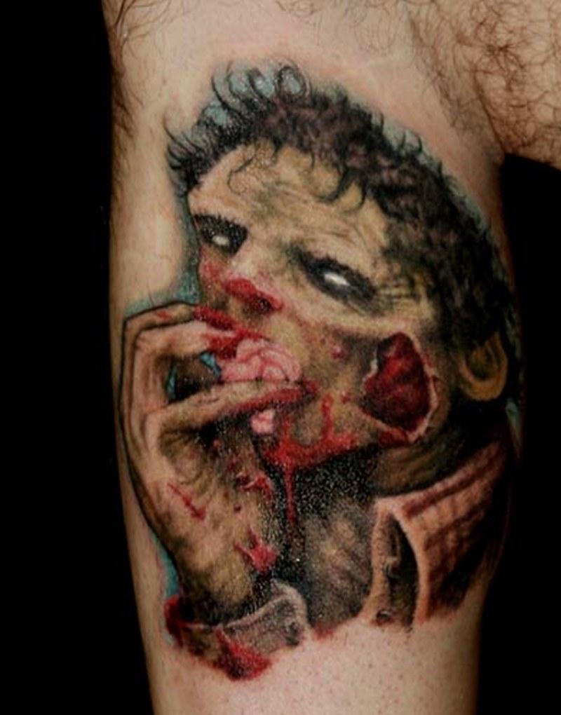 Zombie horror tattoo on biceps 2