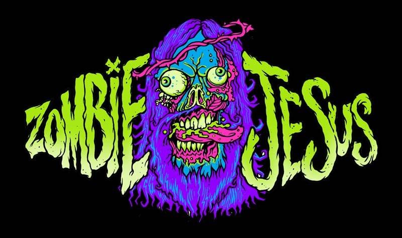 Zombie jesus head tattoo graphic