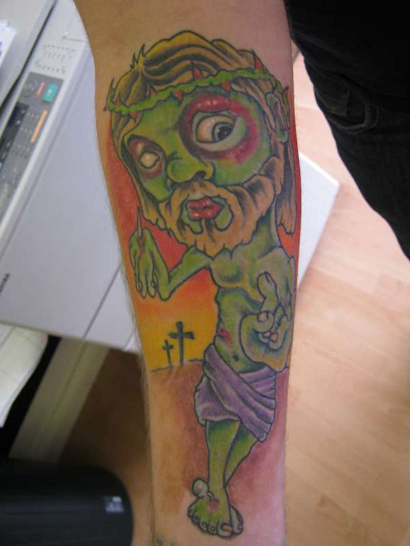 Zombie jesus tattoo on arm
