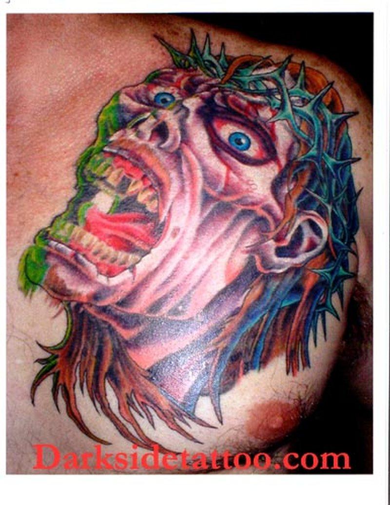 Zombie jesus tattoo on back of shoulder