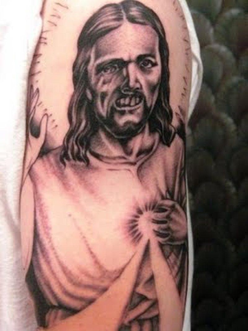Zombie jesus tattoo on biceps