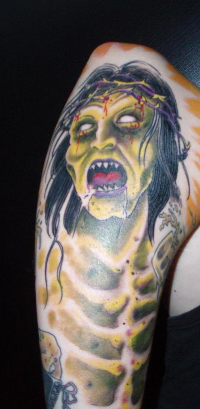 Zombie jesus tattoo on sleeve