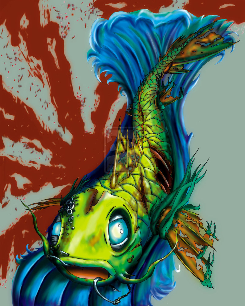 Zombie koi fish tattoo design 3