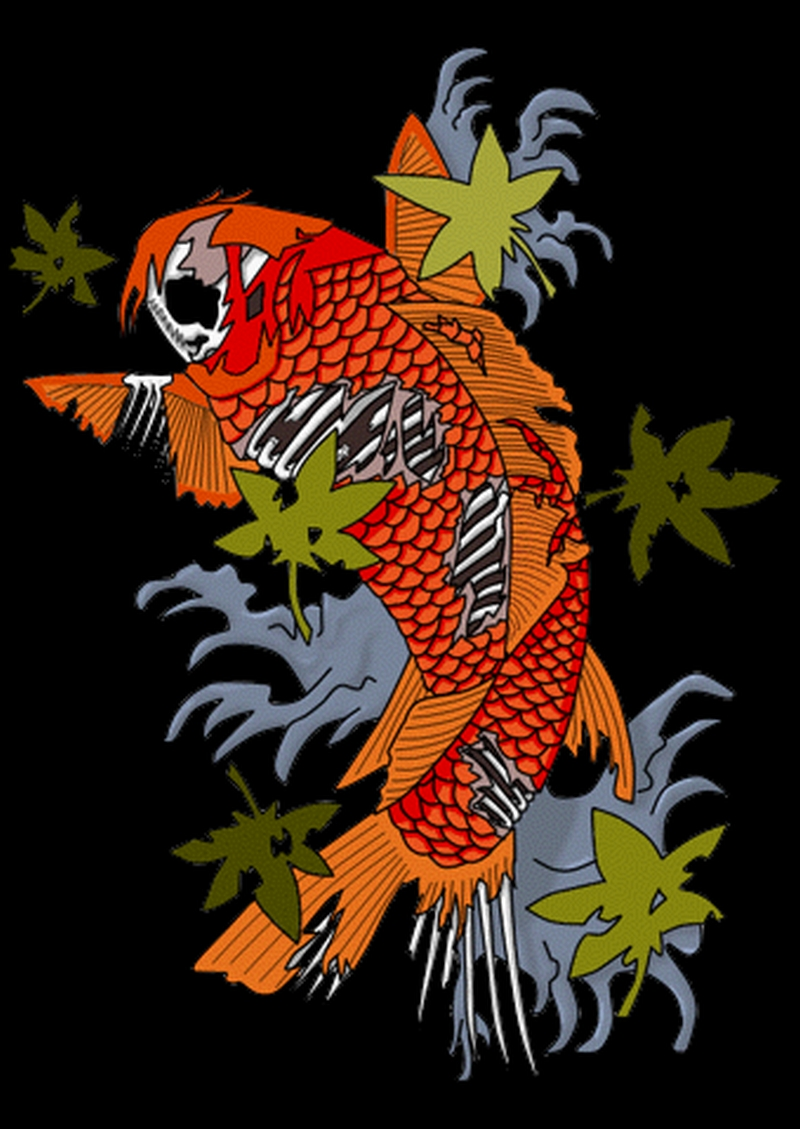 Zombie koi fish tattoo sample