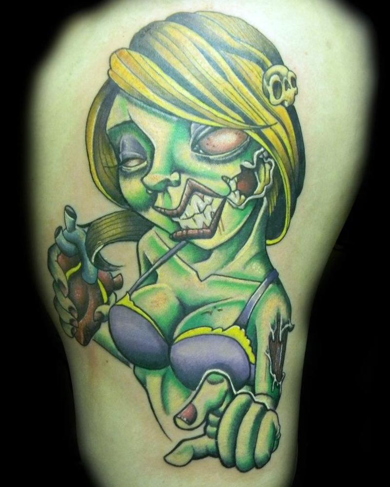 Zombie pin up girl tattoo design