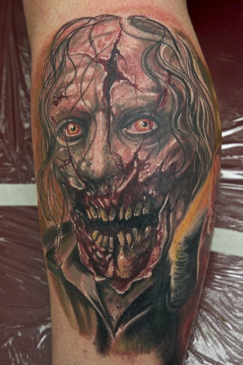 Zombie tattoo on leg by graynd