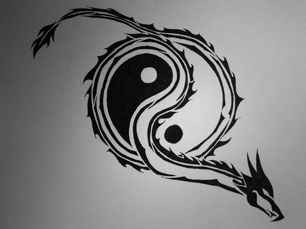Image for Tribal Free Designs Yin Yang Dragon Tattoo Wallpapers with