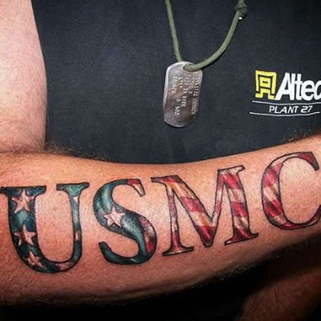 American Flag USMC Text Forearm Tattoo