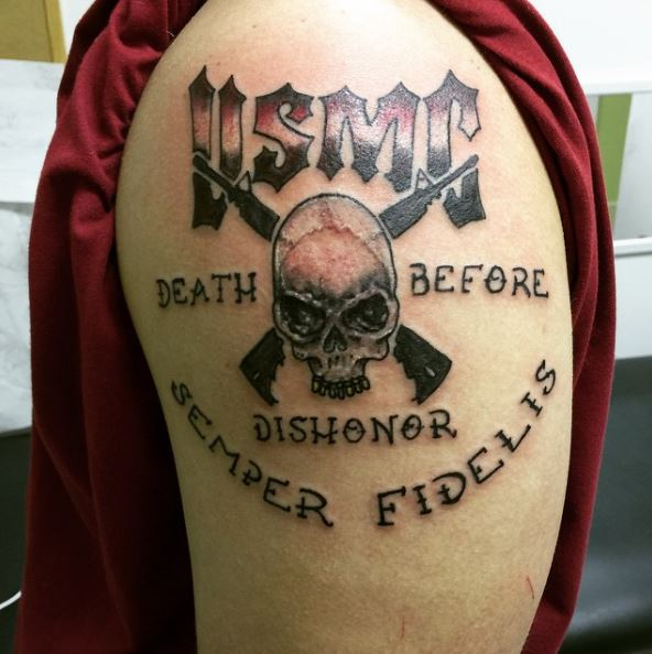 Death Before Dishonor Semper Fidelis Skeleton Upper Arm Design