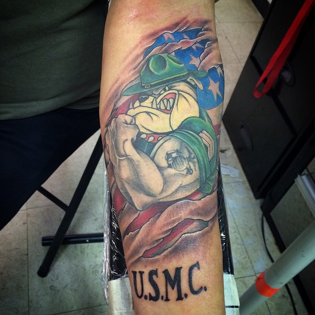 Colorful Fearsome USMC Mascot Tattoo for Marine Corps Men