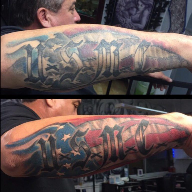 Retouched Red White Blue US Marine Corps Tattoo for Men