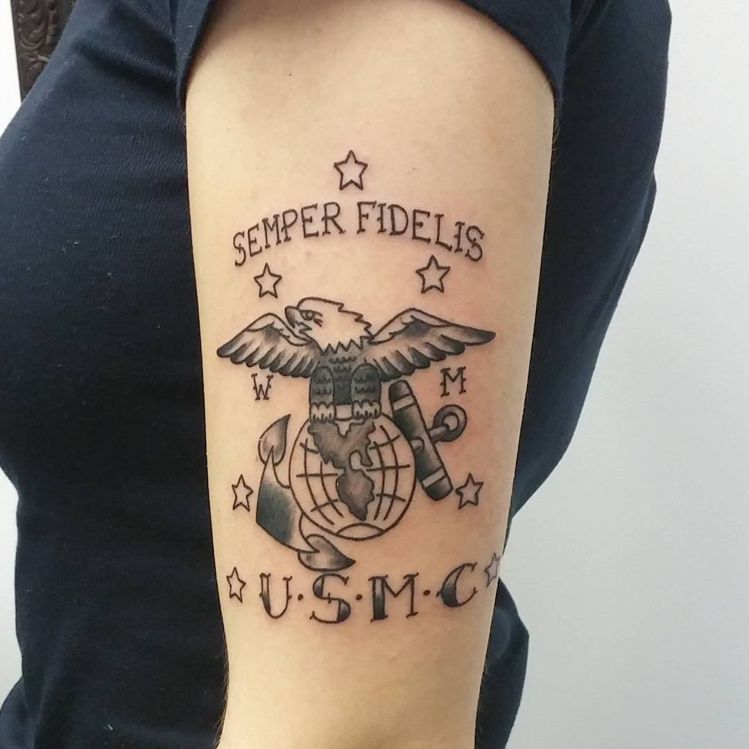 Modern Line-Drawn Style USMC Tattoo Idea for Men