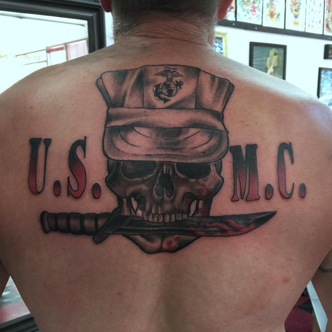 Skull and Cross Bones Tattoo Inspired by the Marine Corp